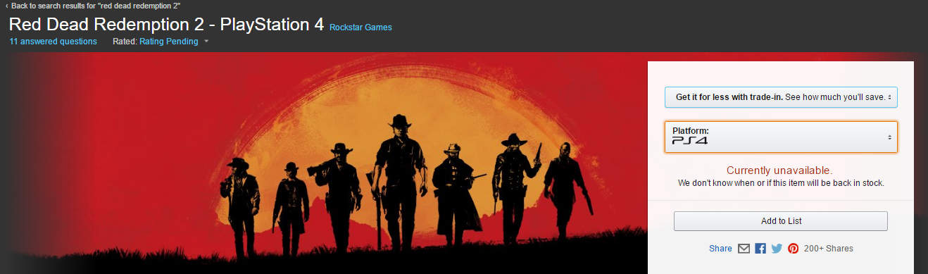 Amazon's Red Dead Redemption 2 Allocation Already Sold Out