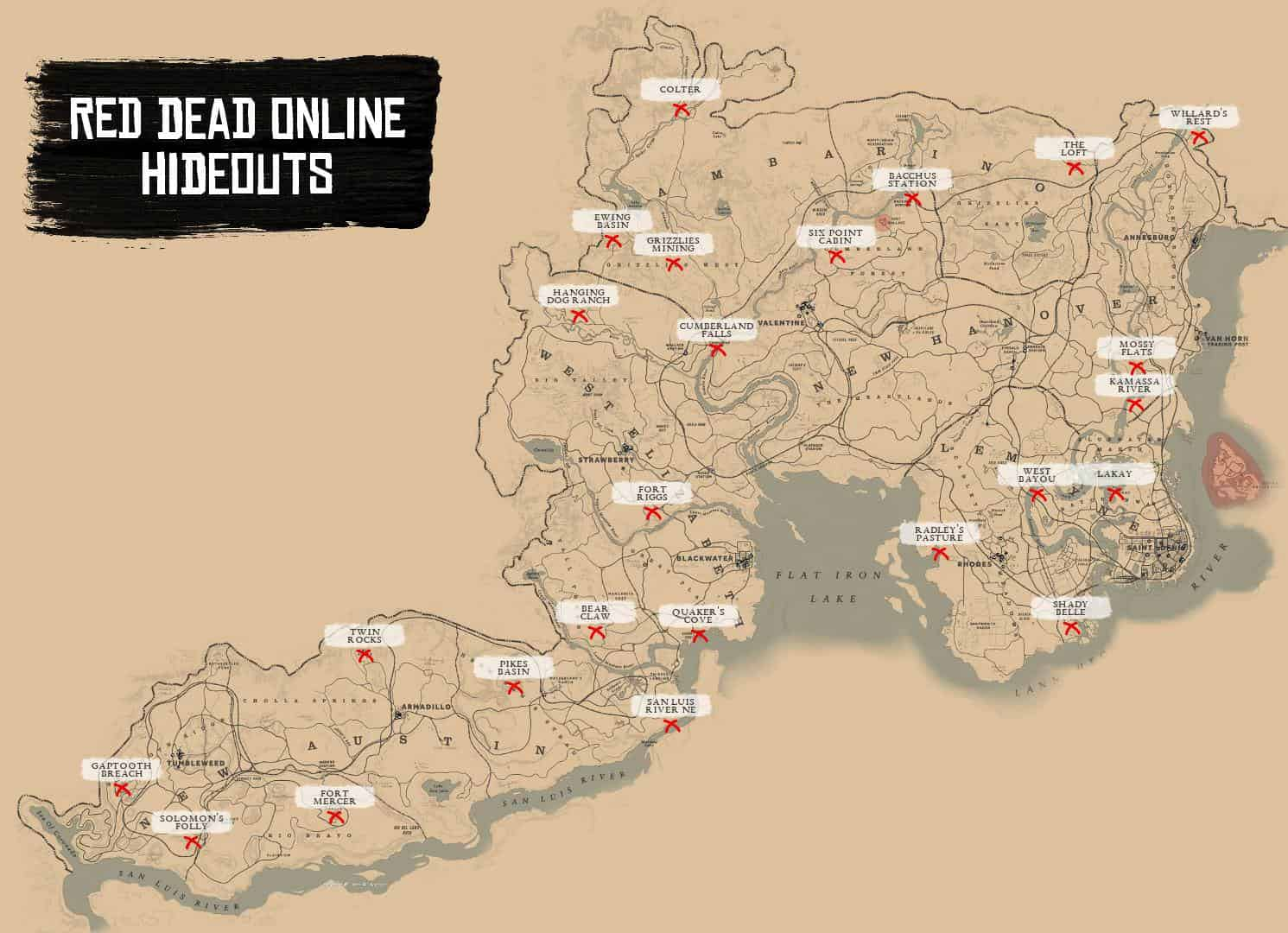 Rdr2 Karte.Red Dead Online Gang Hideout Spawn Locations Rdr2 Org